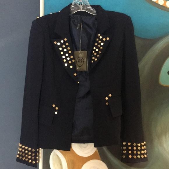 Tov Holy Navy Gold Studded Blazer Jacket